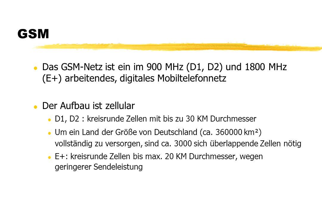 GSM l Das GSM-Netz ist ein im 900 MHz (D1, D2) und 1800 MHz (E+) arbeitendes, digitales Mobiltelefonnetz l Der Aufbau ist zellular l D1, D2 : kreisrun
