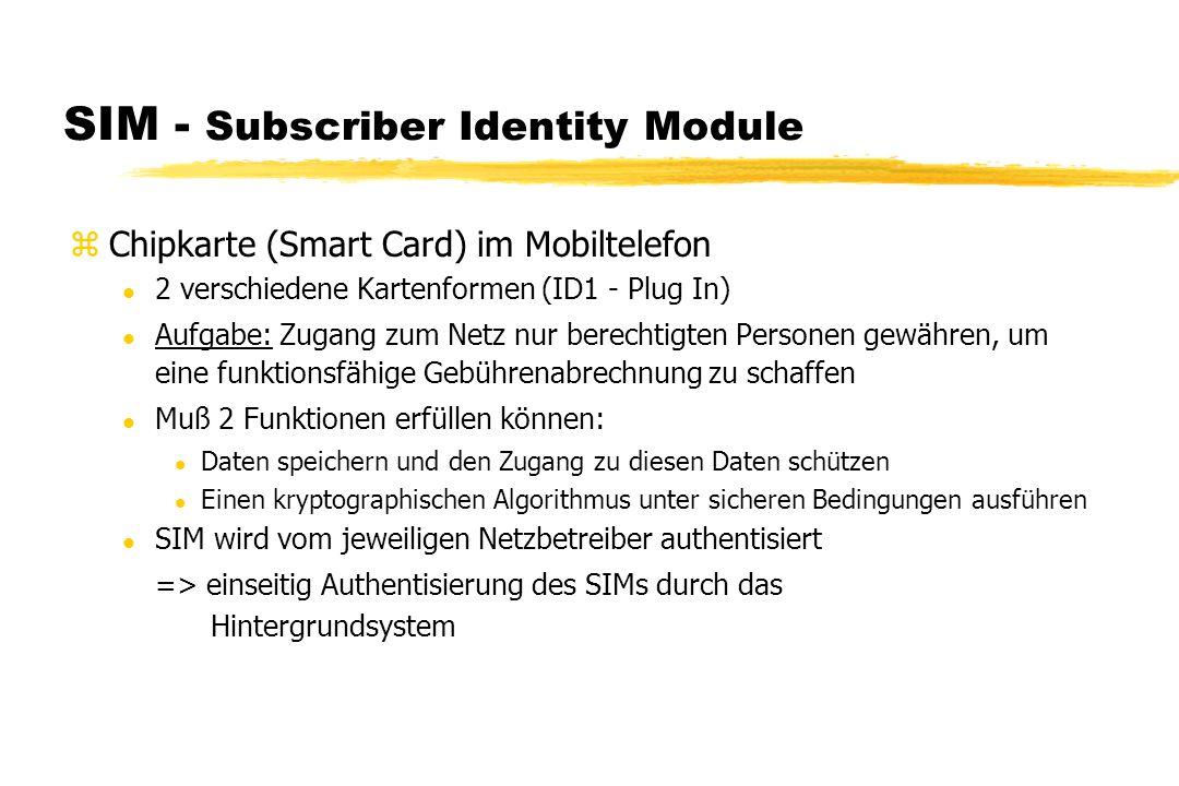 SIM - Subscriber Identity Module zChipkarte (Smart Card) im Mobiltelefon l 2 verschiedene Kartenformen (ID1 - Plug In) l Aufgabe: Zugang zum Netz nur