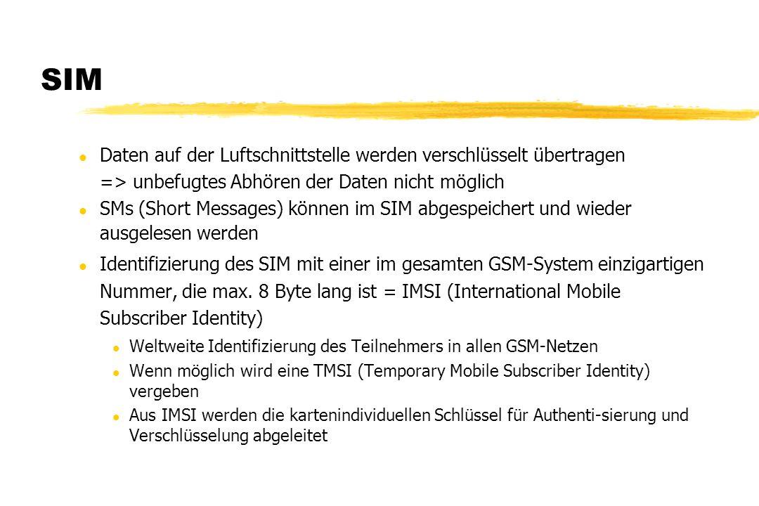 SIM l Daten auf der Luftschnittstelle werden verschlüsselt übertragen => unbefugtes Abhören der Daten nicht möglich l SMs (Short Messages) können im S