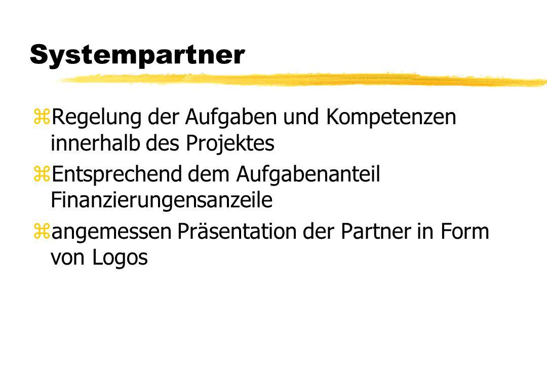 Systempartner zRegelung der Aufgaben und Kompetenzen innerhalb des Projektes zEntsprechend dem Aufgabenanteil Finanzierungensanzeile zangemessen Präse
