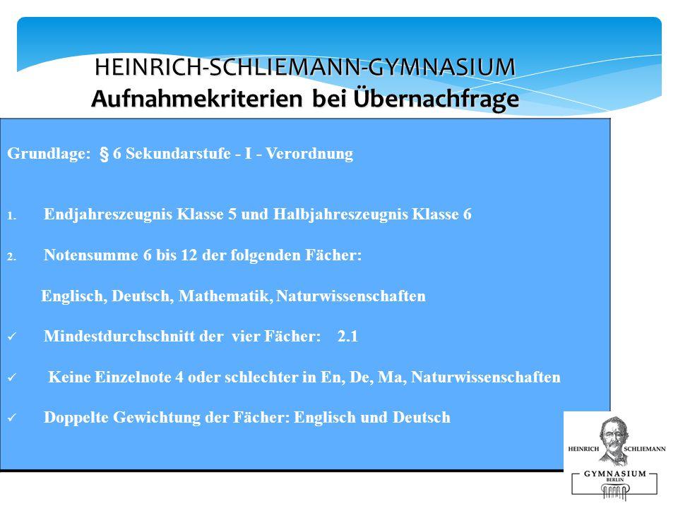HEINRICH-SCHLIEMANN-GYMNASIUM Aufnahmekriterien bei Übernachfrage Grundlage: § 6 Sekundarstufe - I - Verordnung 1.