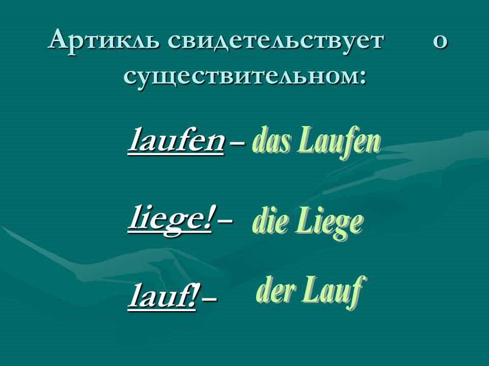 Артикль свидетельствует о существительном: Артикль свидетельствует о существительном: laufen – liege.