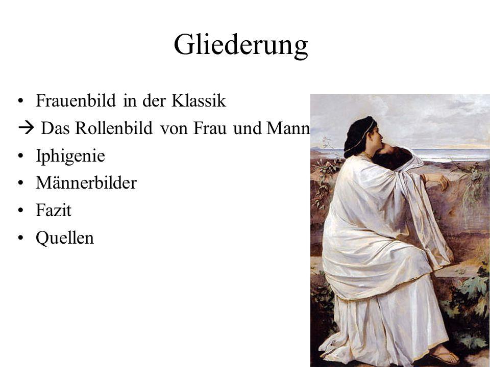 Gliederung Frauenbild in der Klassik  Das Rollenbild von Frau und Mann Iphigenie Männerbilder Fazit Quellen