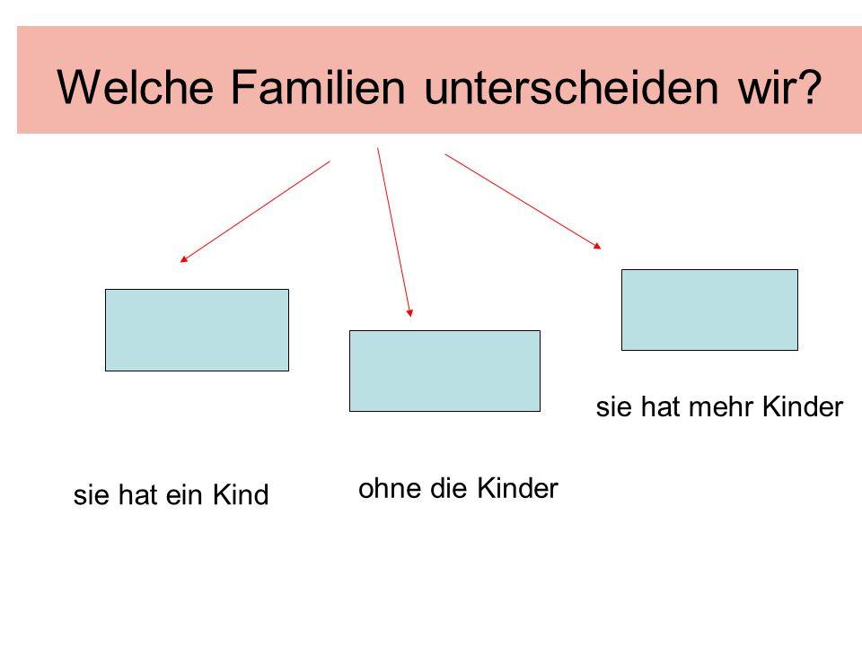 Welche Familien unterscheiden wir? sie hat ein Kind ohne die Kinder sie hat mehr Kinder