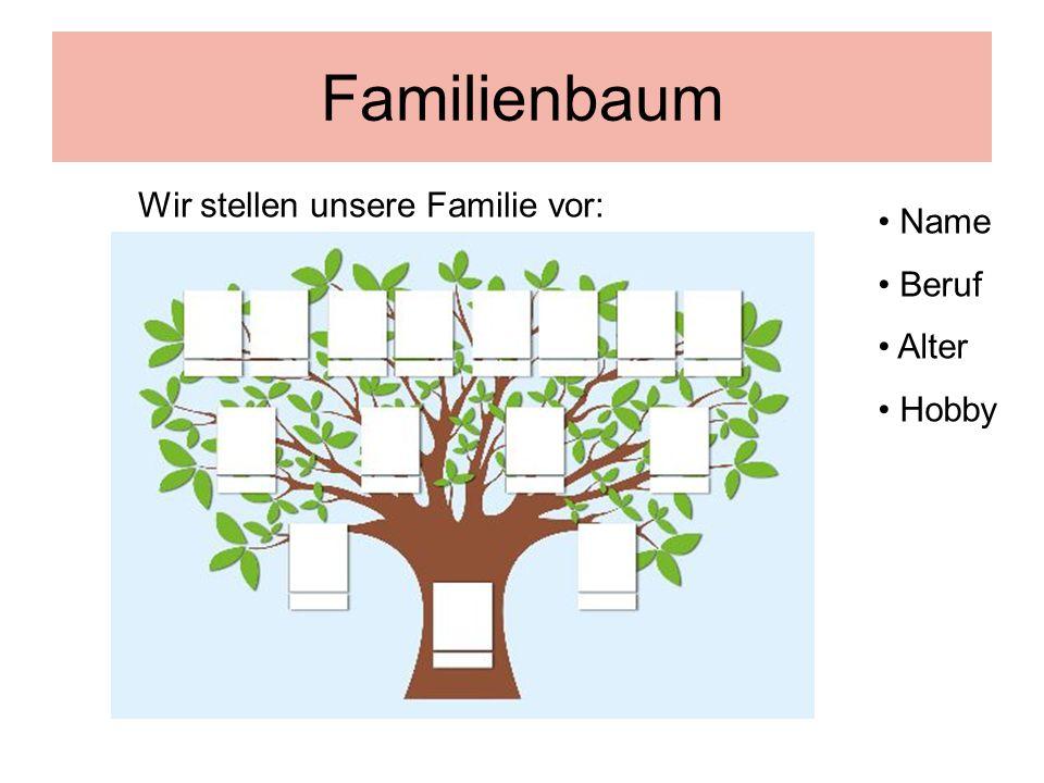 Familienbaum Name Beruf Alter Hobby Wir stellen unsere Familie vor: