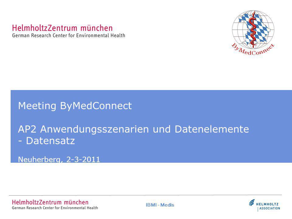 IBMI - Medis Meeting ByMedConnect AP2 Anwendungsszenarien und Datenelemente - Datensatz Neuherberg, 2-3-2011