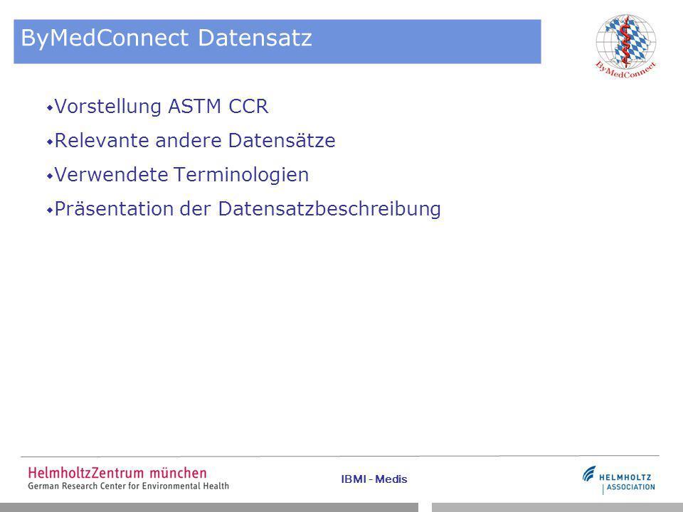 IBMI - Medis ByMedConnect Datensatz  Vorstellung ASTM CCR  Relevante andere Datensätze  Verwendete Terminologien  Präsentation der Datensatzbeschreibung