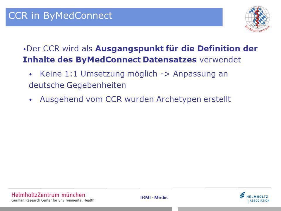 IBMI - Medis CCR in ByMedConnect  Der CCR wird als Ausgangspunkt für die Definition der Inhalte des ByMedConnect Datensatzes verwendet  Keine 1:1 Umsetzung möglich -> Anpassung an deutsche Gegebenheiten  Ausgehend vom CCR wurden Archetypen erstellt