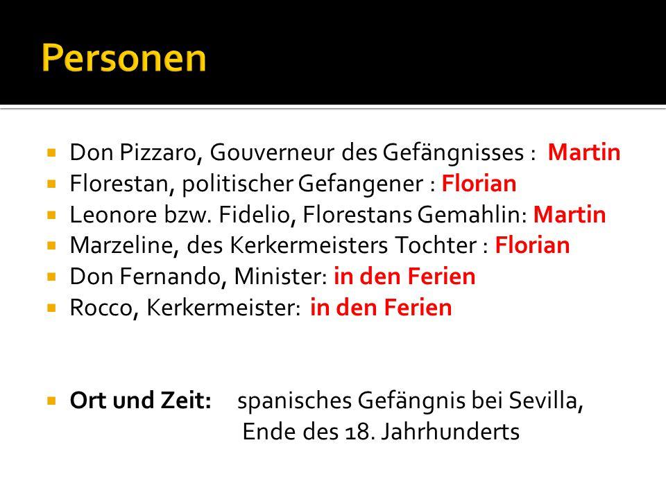 Don Pizzaro, Gouverneur des Gefängnisses : Martin  Florestan, politischer Gefangener : Florian  Leonore bzw.
