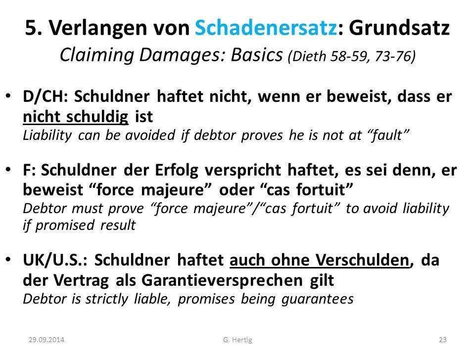 29.09.2014 5. Verlangen von Schadenersatz: Grundsatz Claiming Damages: Basics (Dieth 58-59, 73-76) D/CH: Schuldner haftet nicht, wenn er beweist, dass
