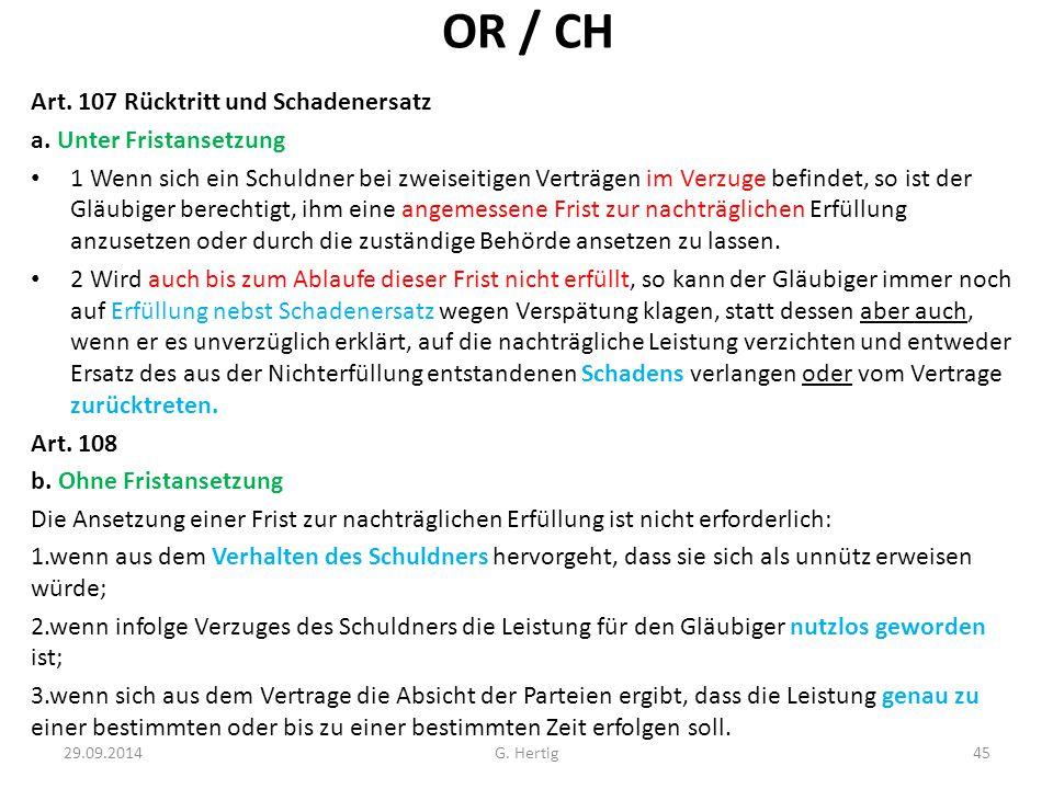 OR / CH Art.107 Rücktritt und Schadenersatz a.