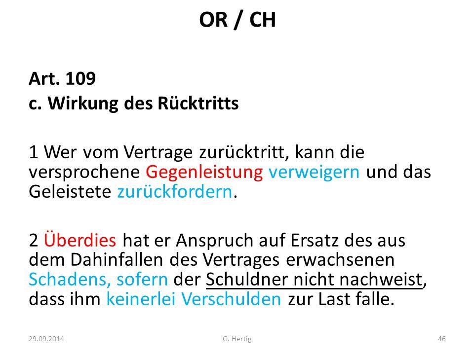 OR / CH Art.109 c.