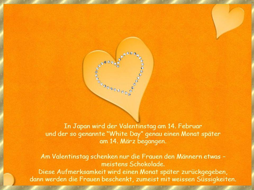 Nach Deutschland wurde der Valentinstag und der Brauch zwischen Verliebten, sich an dem Tag mit Aufmerksamkeiten und Blumen zu beschenken, nach dem zweiten Weltkrieg durch die US-Soldaten gebracht und von da in die Schweiz In den USA ist es heute üblich, Valentinskarten zu versenden.