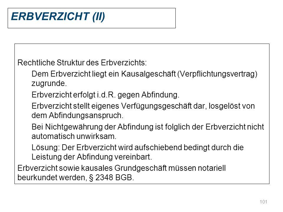 101 ERBVERZICHT (II) Rechtliche Struktur des Erbverzichts: Dem Erbverzicht liegt ein Kausalgeschäft (Verpflichtungsvertrag) zugrunde. Erbverzicht erfo