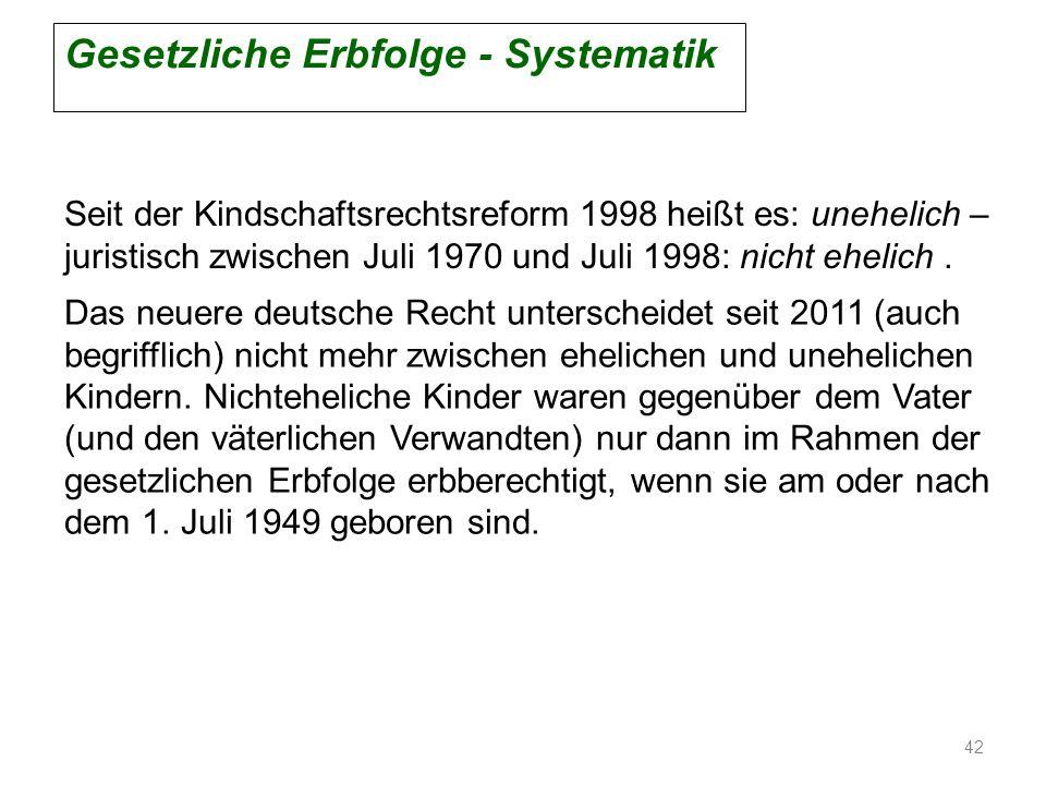 Gesetzliche Erbfolge - Systematik Seit der Kindschaftsrechtsreform 1998 heißt es: unehelich – juristisch zwischen Juli 1970 und Juli 1998: nicht eheli