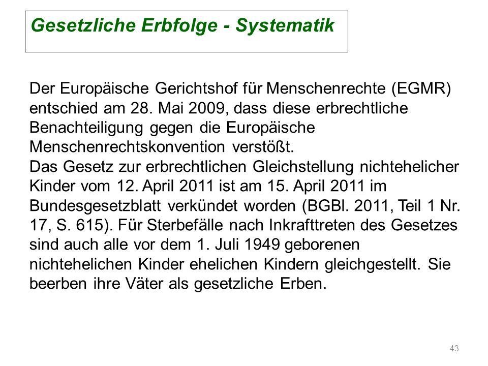 Gesetzliche Erbfolge - Systematik Der Europäische Gerichtshof für Menschenrechte (EGMR) entschied am 28. Mai 2009, dass diese erbrechtliche Benachteil