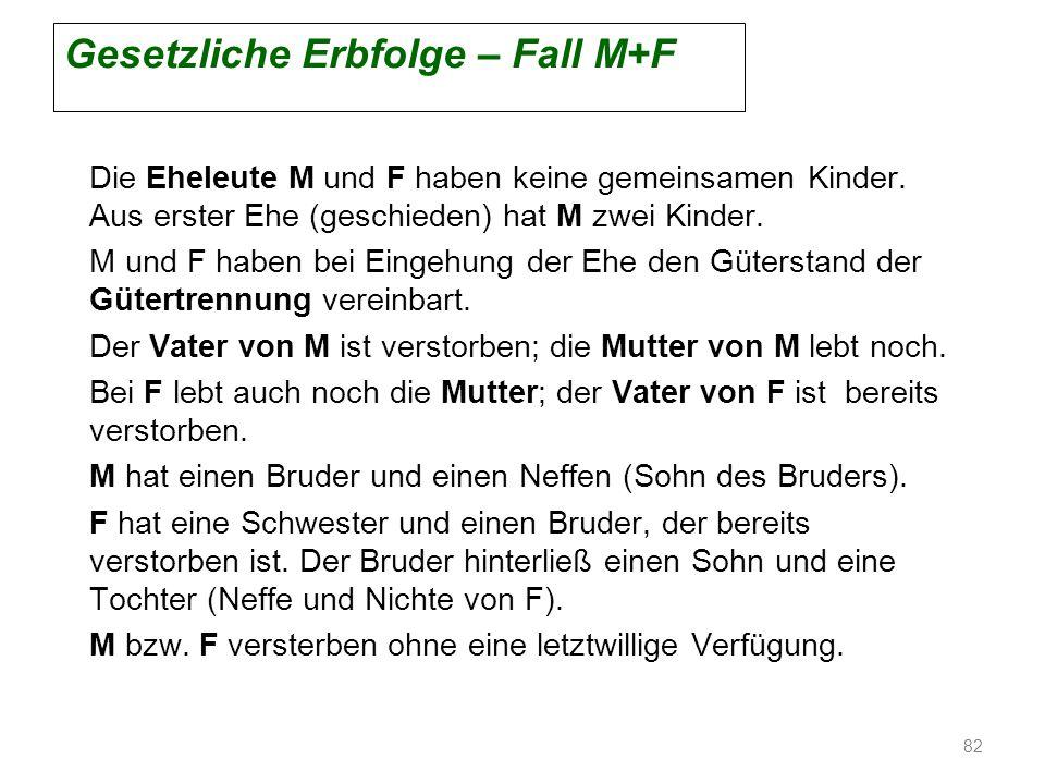 Gesetzliche Erbfolge – Fall M+F Die Eheleute M und F haben keine gemeinsamen Kinder. Aus erster Ehe (geschieden) hat M zwei Kinder. M und F haben bei