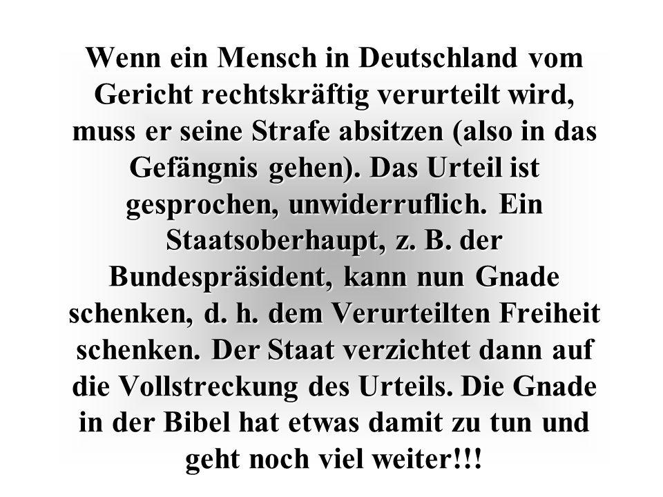 Wenn ein Mensch in Deutschland vom Gericht rechtskräftig verurteilt wird, muss er seine Strafe absitzen (also in das Gefängnis gehen). Das Urteil ist