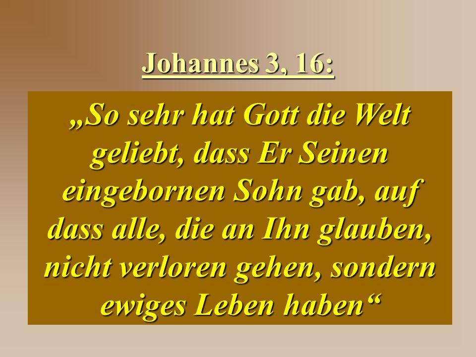 """Johannes 3, 16: """"So sehr hat Gott die Welt geliebt, dass Er Seinen eingebornen Sohn gab, auf dass alle, die an Ihn glauben, nicht verloren gehen, sond"""