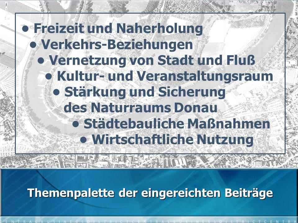 Freizeit und Naherholung Verkehrs-Beziehungen Vernetzung von Stadt und Fluß Kultur- und Veranstaltungsraum Stärkung und Sicherung des Naturraums Donau Städtebauliche Maßnahmen Wirtschaftliche Nutzung Themenpalette der eingereichten Beiträge