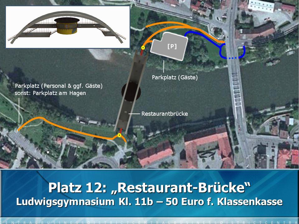 "Platz 12: ""Restaurant-Brücke Ludwigsgymnasium Kl. 11b – 50 Euro f. Klassenkasse"