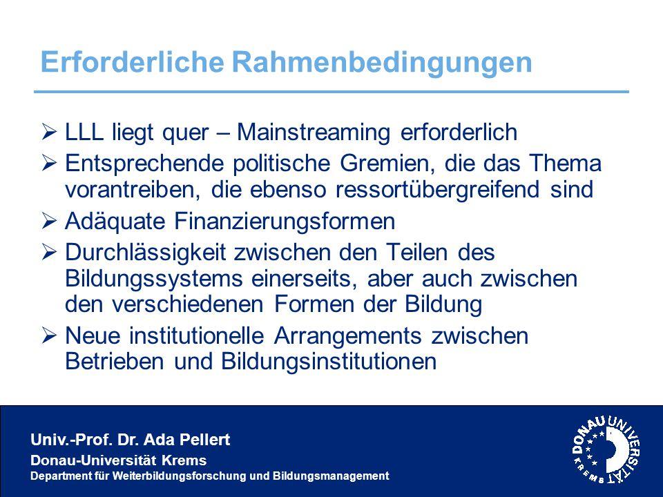 Univ.-Prof. Dr. Ada Pellert Donau-Universität Krems Department für Weiterbildungsforschung und Bildungsmanagement Erforderliche Rahmenbedingungen  LL
