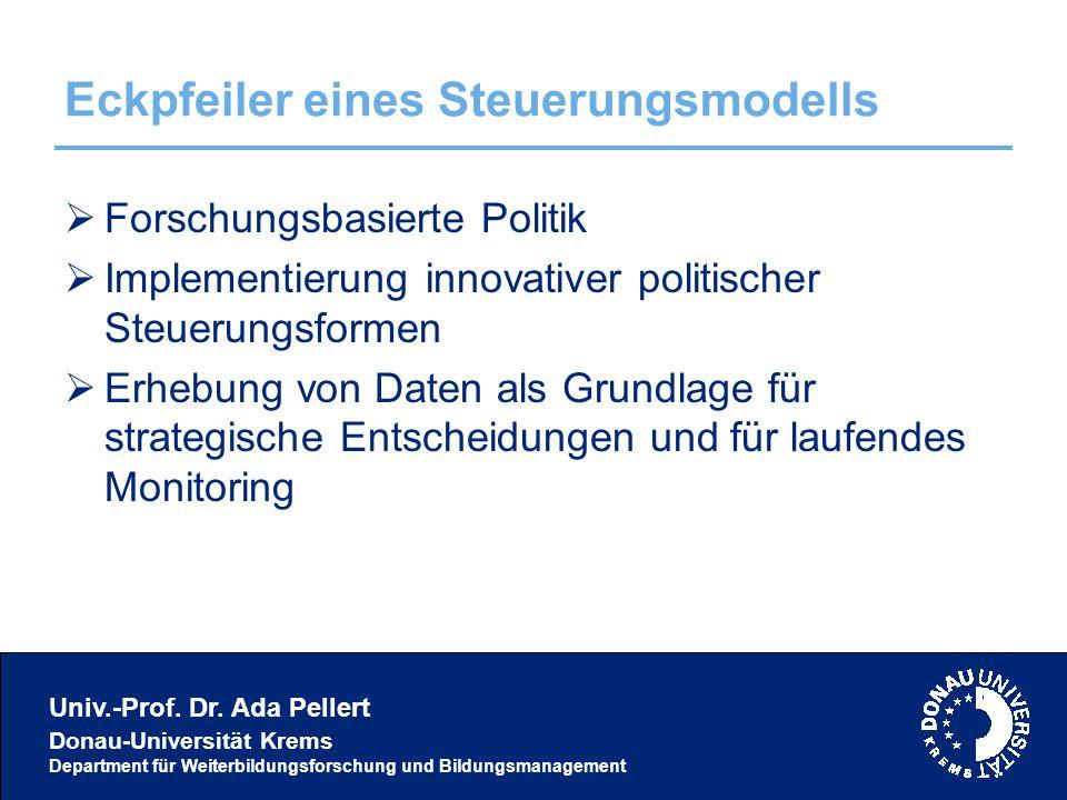 Univ.-Prof. Dr. Ada Pellert Donau-Universität Krems Department für Weiterbildungsforschung und Bildungsmanagement Eckpfeiler eines Steuerungsmodells 