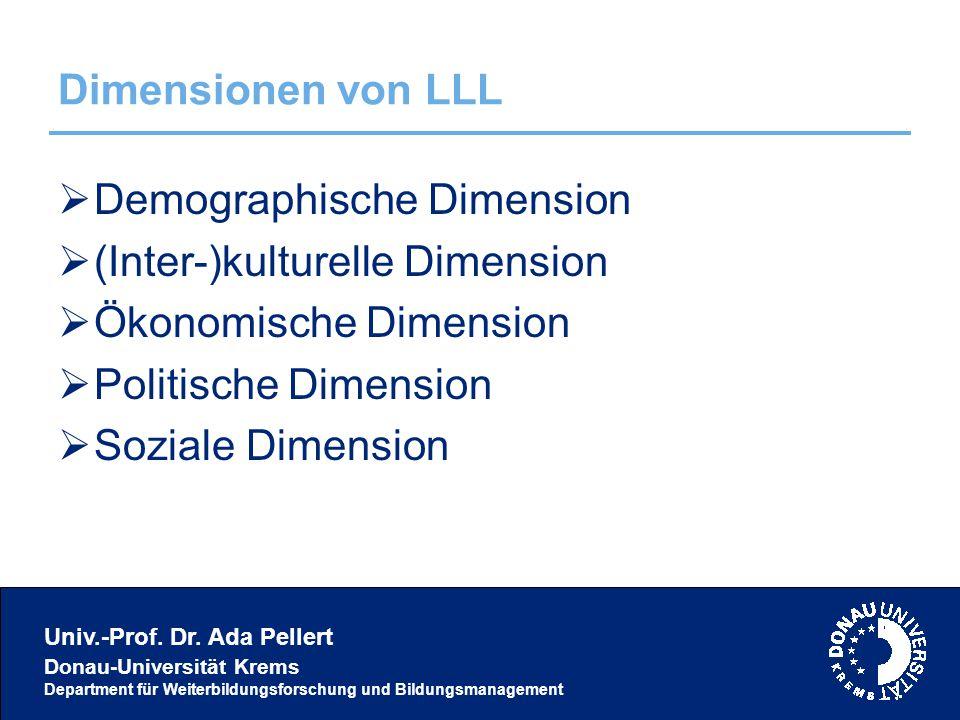 Univ.-Prof. Dr. Ada Pellert Donau-Universität Krems Department für Weiterbildungsforschung und Bildungsmanagement Dimensionen von LLL  Demographische
