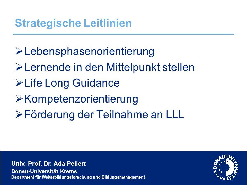 Univ.-Prof. Dr. Ada Pellert Donau-Universität Krems Department für Weiterbildungsforschung und Bildungsmanagement Strategische Leitlinien  Lebensphas