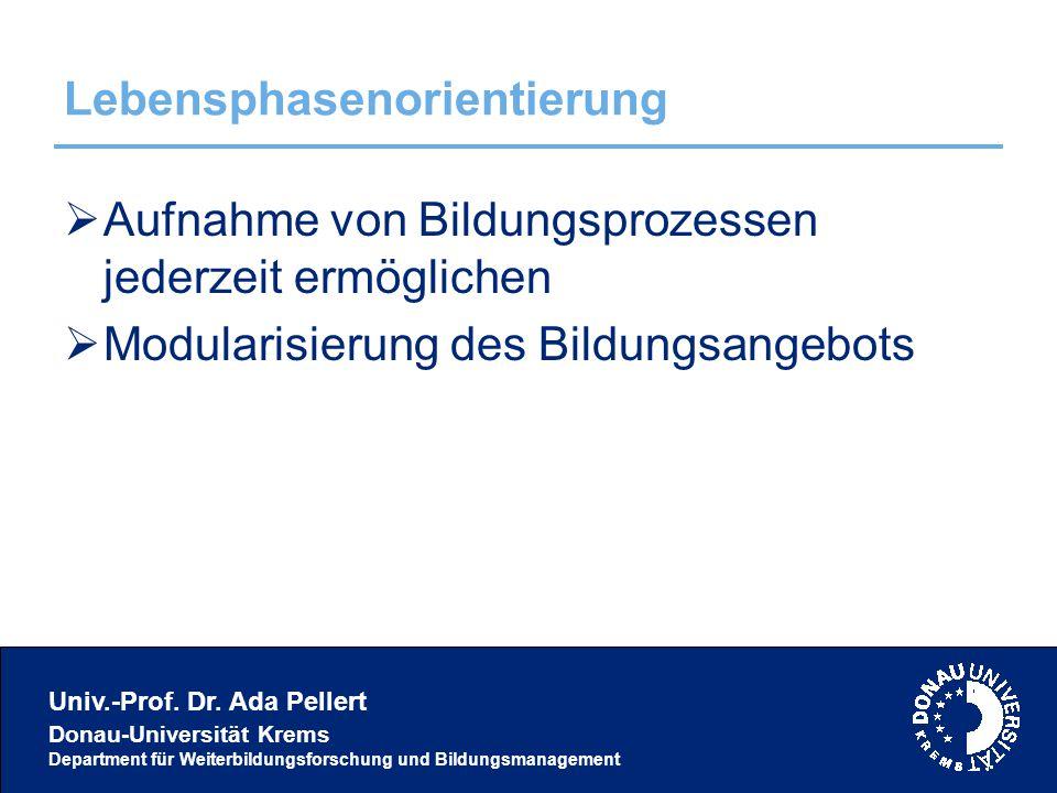 Univ.-Prof. Dr. Ada Pellert Donau-Universität Krems Department für Weiterbildungsforschung und Bildungsmanagement Lebensphasenorientierung  Aufnahme