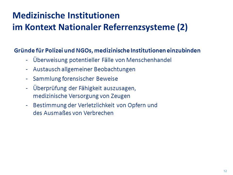 Medizinische Institutionen im Kontext Nationaler Referrenzsysteme (2) Gründe für Polizei und NGOs, medizinische Institutionen einzubinden -Überweisung