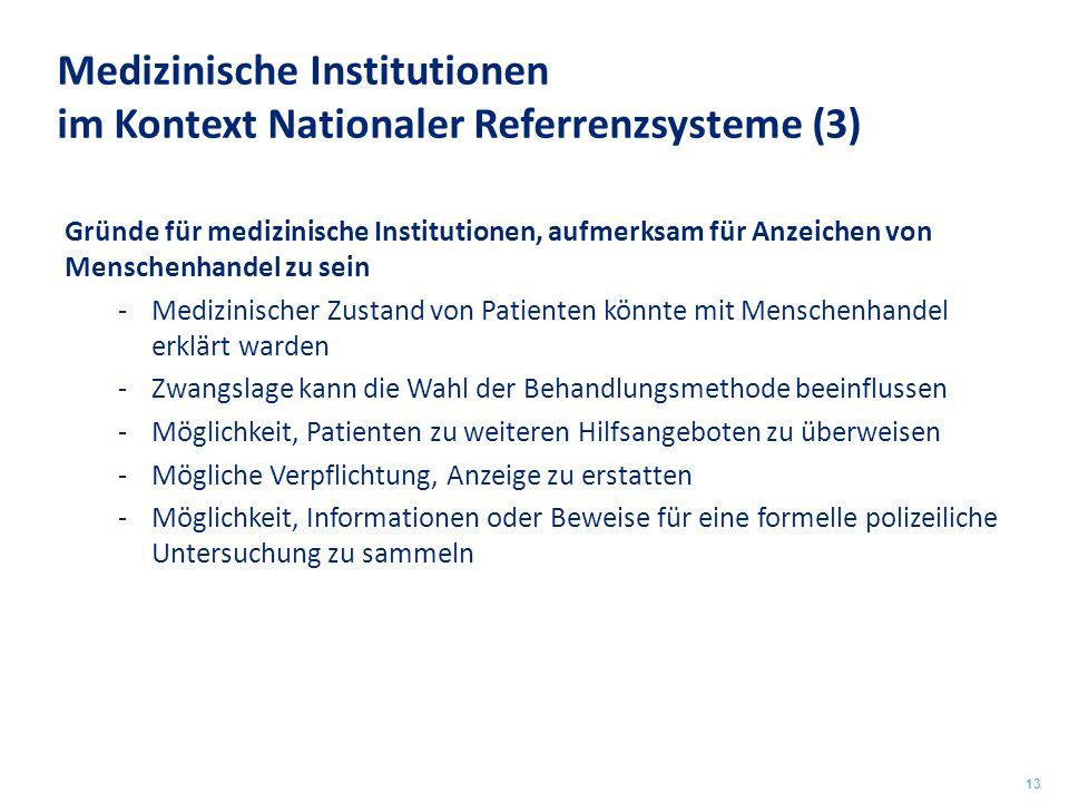 Medizinische Institutionen im Kontext Nationaler Referrenzsysteme (3) Gründe für medizinische Institutionen, aufmerksam für Anzeichen von Menschenhand