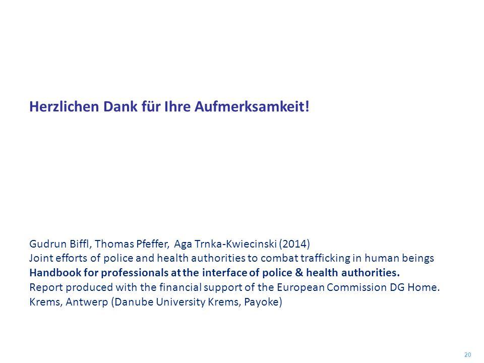 Herzlichen Dank für Ihre Aufmerksamkeit! Gudrun Biffl, Thomas Pfeffer, Aga Trnka-Kwiecinski (2014) Joint efforts of police and health authorities to c