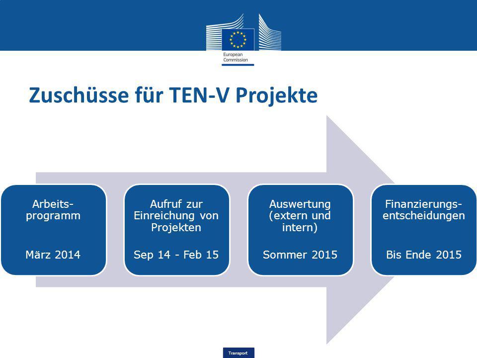Transport Zuschüsse für TEN-V Projekte Arbeits- programm März 2014 Aufruf zur Einreichung von Projekten Sep 14 - Feb 15 Auswertung (extern und intern)