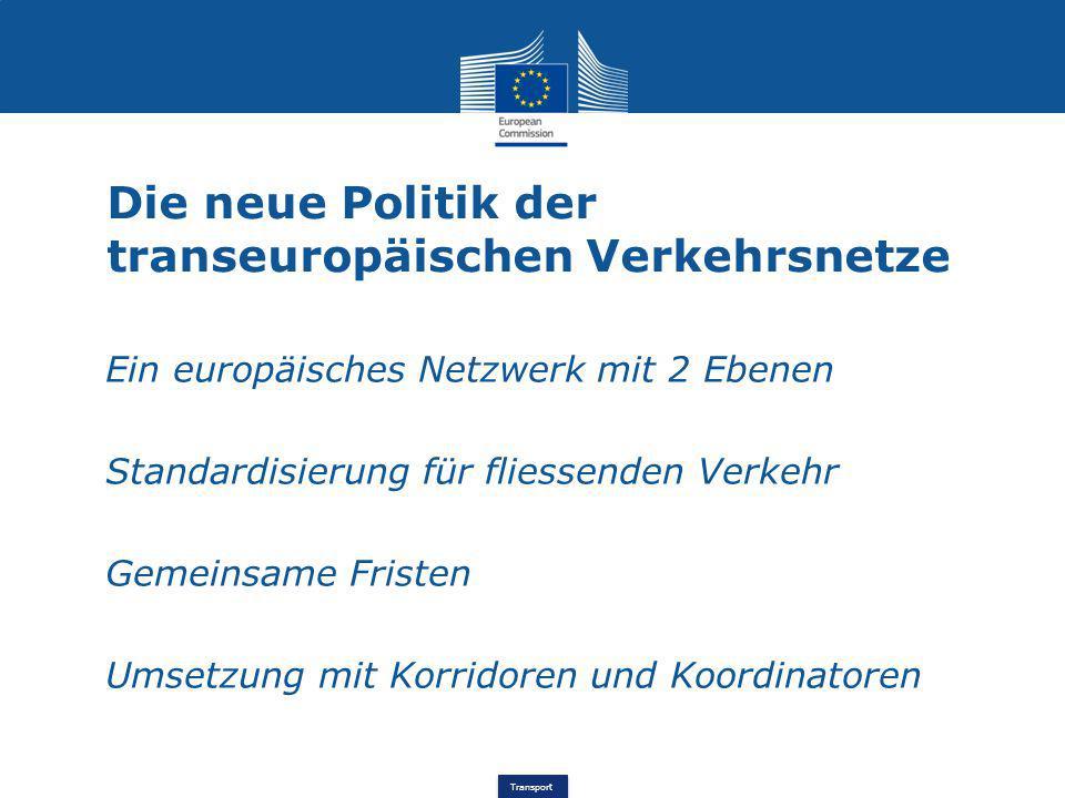 Transport Die neue Politik der transeuropäischen Verkehrsnetze Ein europäisches Netzwerk mit 2 Ebenen Standardisierung für fliessenden Verkehr Gemeins