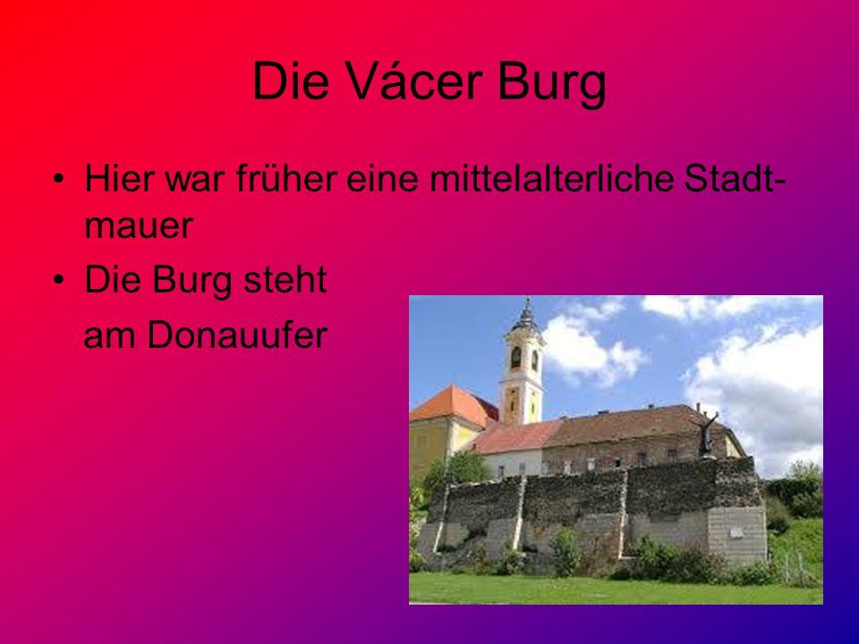 Die Vácer Burg Hier war früher eine mittelalterliche Stadt- mauer Die Burg steht am Donauufer