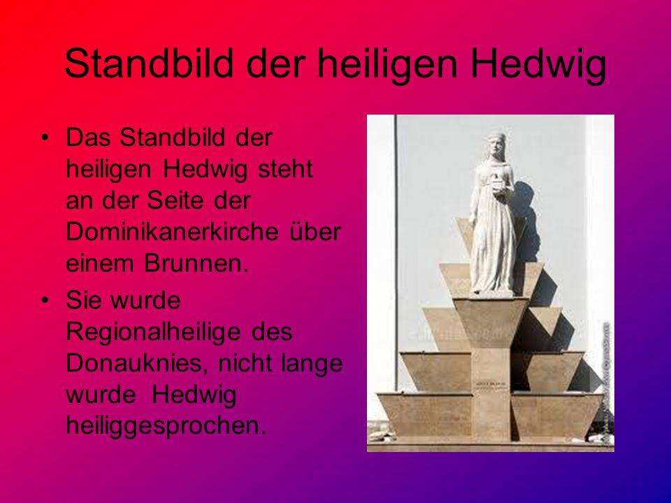 Standbild der heiligen Hedwig Das Standbild der heiligen Hedwig steht an der Seite der Dominikanerkirche über einem Brunnen.