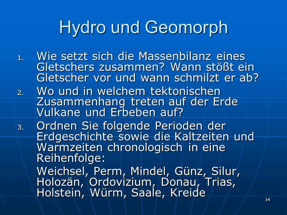 14 Hydro und Geomorph 1.Wie setzt sich die Massenbilanz eines Gletschers zusammen.