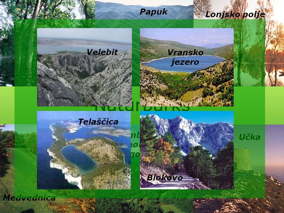 Naturparks Kopački rit Papuk Lonjsko polje Medvednica Žumberak- Samoborsko gorje Učka Velebit Vransko jezero Telaščica Biokovo