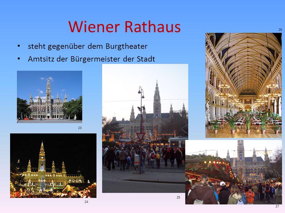 Wiener Rathaus steht gegenüber dem Burgtheater Amtsitz der Bürgermeister der Stadt 23 24 25 26 27