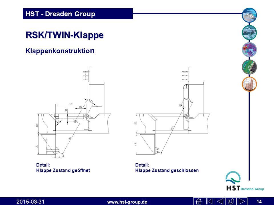 www.hst-group.de HST - Dresden Group RSK/TWIN-Klappe Klappenkonstruktio n 2015-03-31 14 Detail: Klappe Zustand geöffnet Detail: Klappe Zustand geschlo