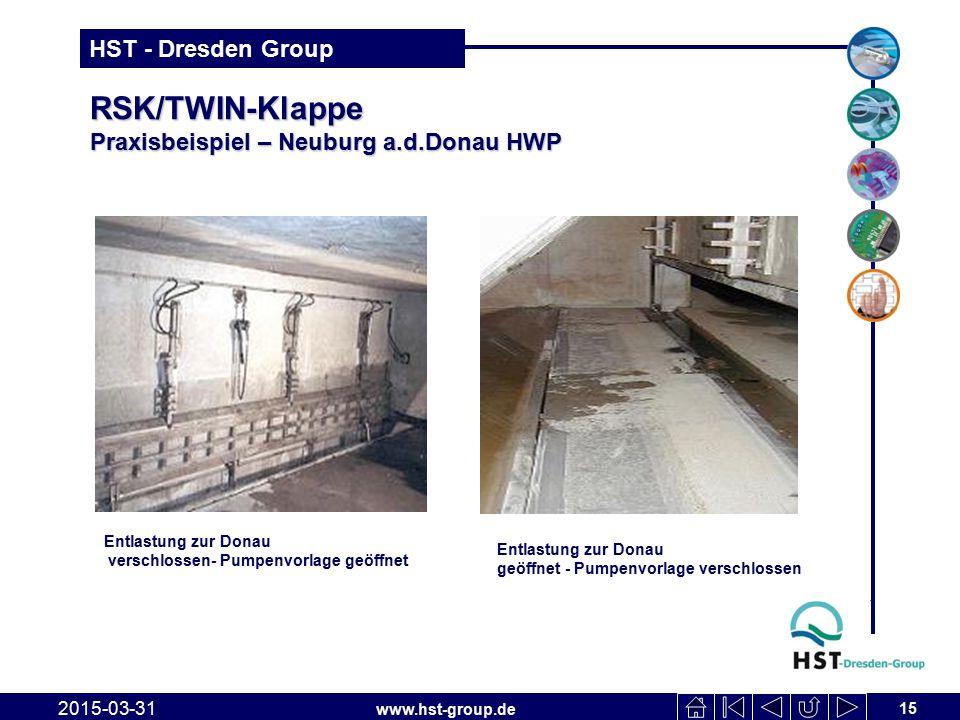 www.hst-group.de HST - Dresden Group RSK/TWIN-Klappe Praxisbeispiel – Neuburg a.d.Donau HWP 2015-03-31 15 Entlastung zur Donau verschlossen- Pumpenvor