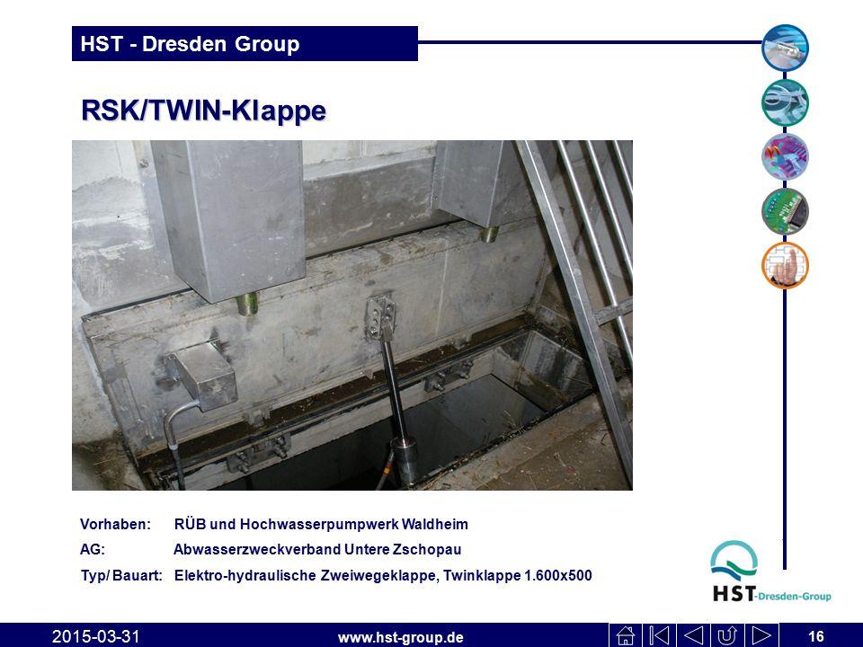 www.hst-group.de HST - Dresden Group RSK/TWIN-Klappe 2015-03-31 16 Vorhaben: RÜB und Hochwasserpumpwerk Waldheim AG: Abwasserzweckverband Untere Zscho