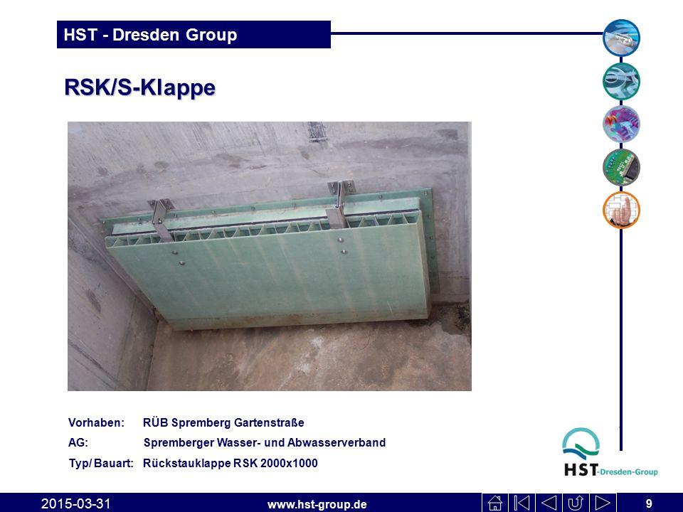 www.hst-group.de HST - Dresden Group AWS-Klappe 31.03.2015 10 Vorhaben: RÜB Landratsamt Aue AG: Zweckverband Schlematal Typ/Bauart: 2 Spülklappen AWS-KL-490/2860, 1 schwimmende Tauchwand STW-R-9700/850, 3-teilig