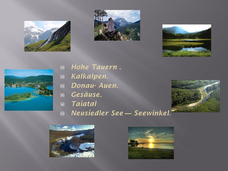  Hohe Tauern.  Kalkalpen.  Donau- Auen.  Gesäuse.  Taiatal  Neusiedler See — Seewinkel.