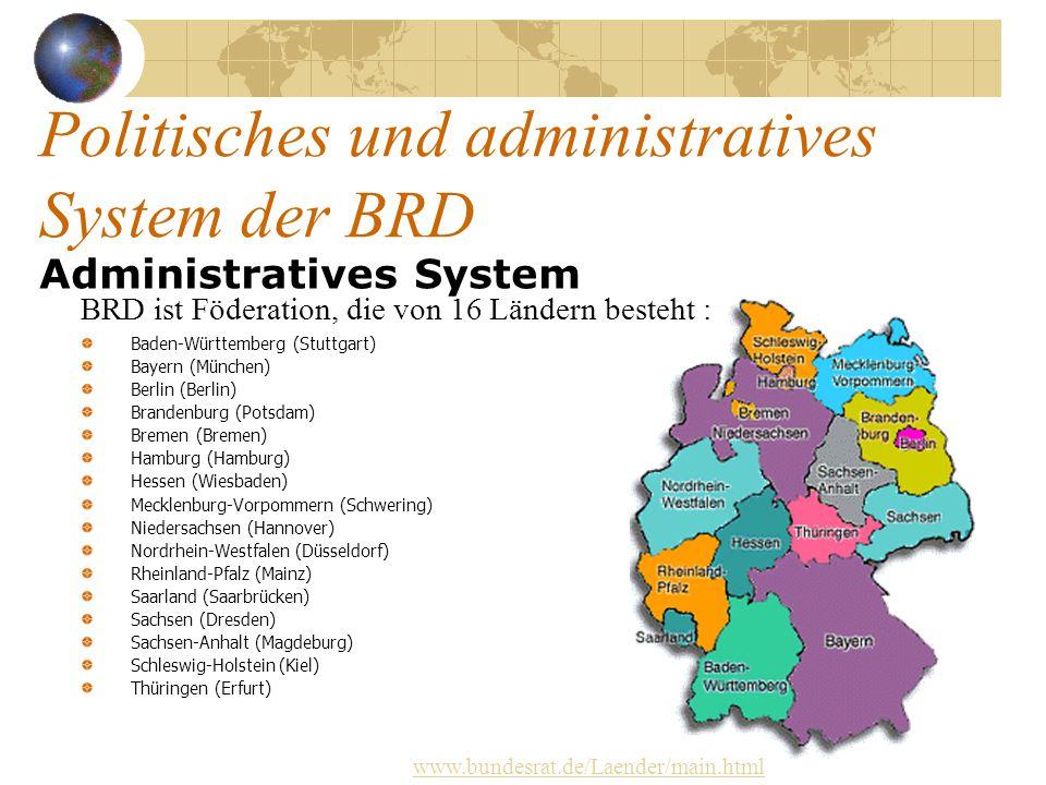 Politisches und administratives System der BRD Administratives System BRD ist Föderation, die von 16 Ländern besteht : Baden-Württemberg (Stuttgart) B