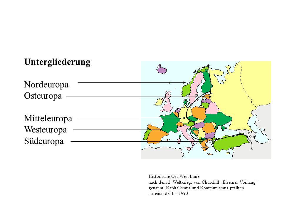 Untergliederung Nordeuropa Osteuropa Mitteleuropa Westeuropa Südeuropa Historische Ost-West Linie nach dem 2.
