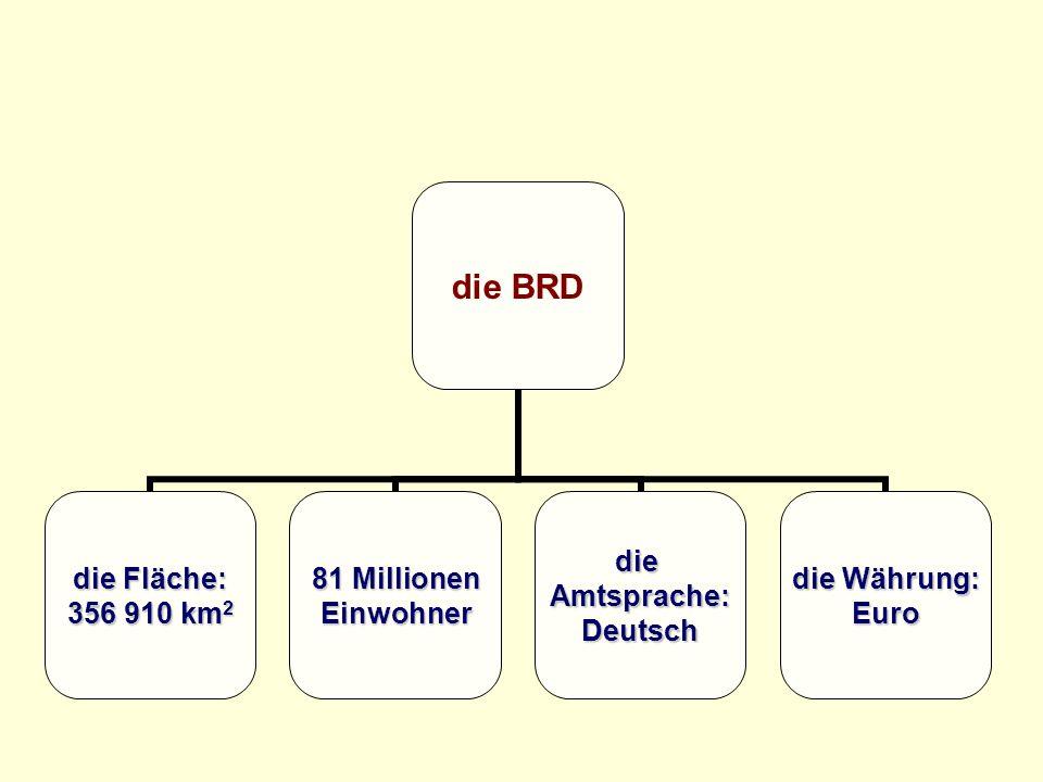 die BRD die Fläche: 356 910 km 2 81 Millionen EinwohnerdieAmtsprache:Deutsch die Währung: Euro