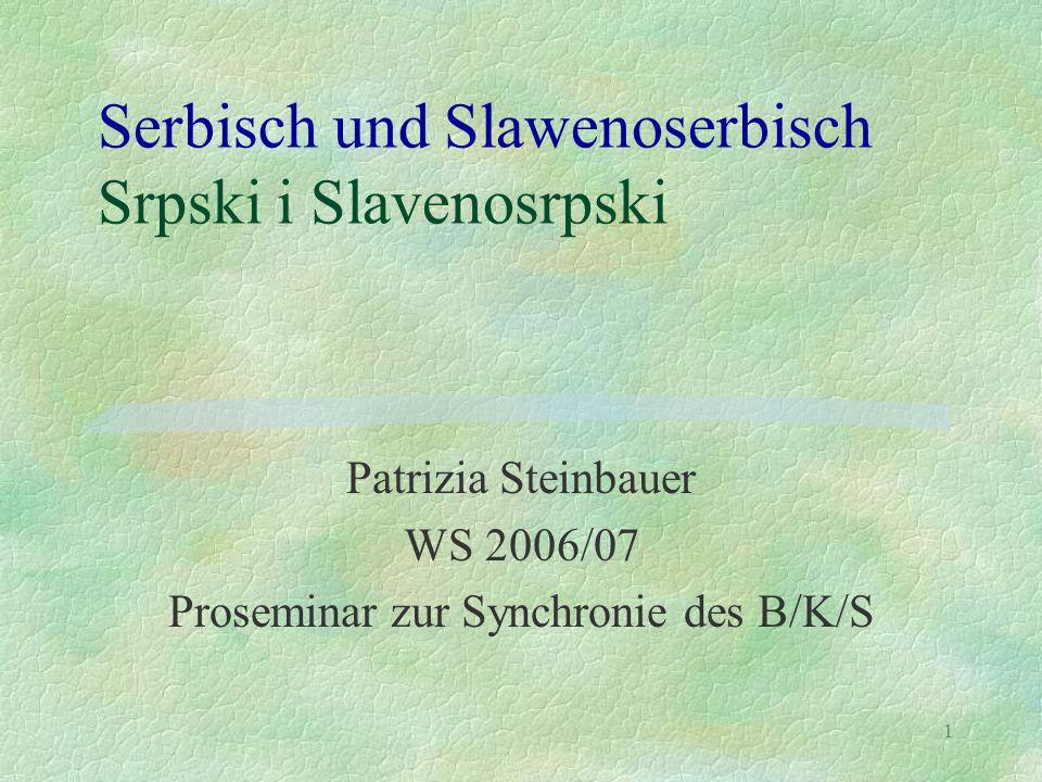1 Serbisch und Slawenoserbisch Srpski i Slavenosrpski Patrizia Steinbauer WS 2006/07 Proseminar zur Synchronie des B/K/S