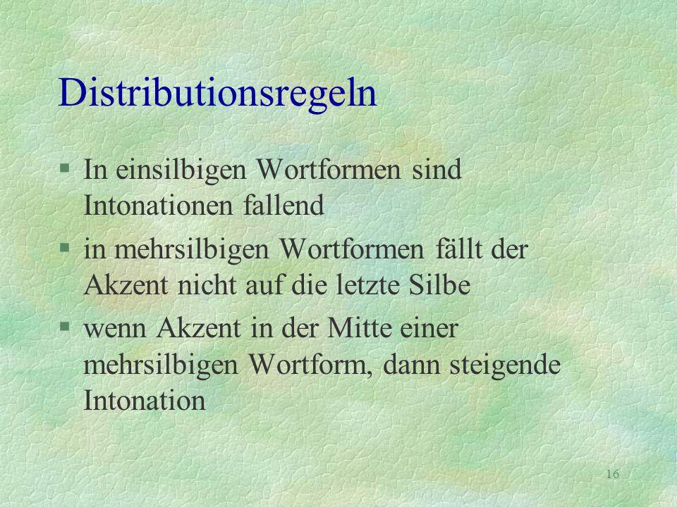 16 Distributionsregeln §In einsilbigen Wortformen sind Intonationen fallend §in mehrsilbigen Wortformen fällt der Akzent nicht auf die letzte Silbe §w